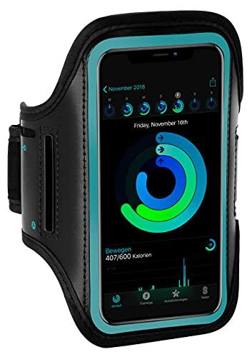 ONEFLOW Sportarmband Handy kompatibel mit Sony Xperia 10 II Armtasche Fitness Armband Sport Laufarmband Outdoor Handyhülle Joggen Arm Halterung Smartphone Handytasche, Blau