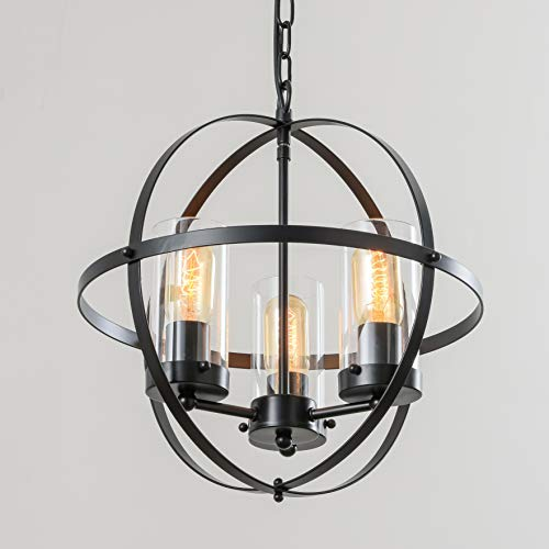 FERWVEW 14.2' Farmhouse Rustic Black Globe Ceiling Hanging Lighting Foyer Chandelier Light Fixture,3-Light Modern Metal Pendant Lighting for Kitchen Island Living Dining Room Bedroom Entryway Hallway