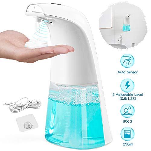 king do way 250ML Dispenser di Sapone Automatico, con Cavo USB e Gancio Adesivo, Distributore di Sapone Schiumogeno Erogatore di Sapone Touchless con Sensore di Infrarossi per Cucina Bagno e WC