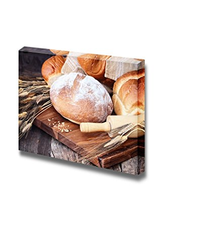 Canvas Prints Wall Art - Delicious Food Variety of Freshly Baked Breads and Grain   Modern Wall Decor/Home Art Stretched Gallery Canvas Wraps Giclee Print & Ready to Hang - 16' x 24'