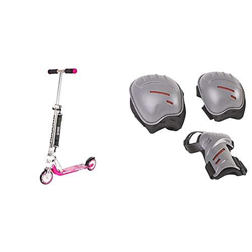 HUDORA Big Wheel Scooter 125 mm, Kinder Scooter - Kinder Roller, pink, 14742 & Protektoren-Set Kinder, biomechanisch, Gr. S (ca. 3 - 7 Jahre) - Schutzausrüstung Inliner Skater, Rollschuhe - 83161/AM