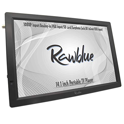 Rawblue 14 Inch Portable Digital ATSC TFT HD Screen Freeview LED TV for Car,Caravan,Camping,Outdoor or Kitchen.Built-in Battery Television/Monitor with Multimedia Player Support USB/FM