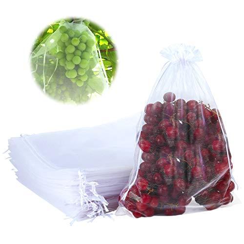 GWHOLE 50 Piezas Bolsas para Uvas Bolsas de Cuerdas Reutilizables -25 x 35cm Fundas de Red Protección de Frutas Control de Plagas Antipájaros Bolsa Impermeable con 2 Hilos Fácil de Cerrar
