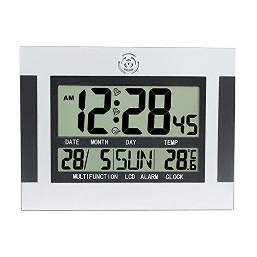 MagiDeal Moderno LCD Digital Snooze Despertador LED Retroiluminación Termómetro de Escritorio