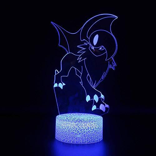 Pokémon: Absol Color Color Remote 3D-Nachtlicht Kreatives niedliches Zubehör Stereo-Vision-LED-Stecker am Bett Radio-Licht Cartoon Kinder Nachtlicht-Touch