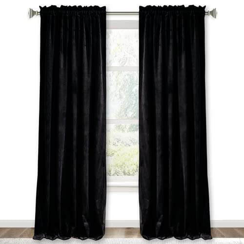 RYB HOME Black Velvet Curtains for Bedroom - Soft Blackout Window Curtain Panels Thermal Insulated Privacy Protection Luxury Drapes for Dinning Room Studio Backdrop, W 52 in x L 84 in, Black, 2 Pcs