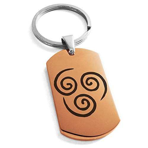 Tioneer Rose Gold Stainless Steel Avatar Air Element Symbol Dog Tag Keychain Keyring