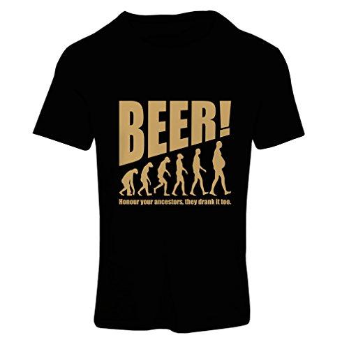 T-Shirt Femme The Beervolution - des idées de Cadeaux sarcastiques Uniques pour Les Amateurs de bière, lévolution de la Boisson (Small Noir Or)