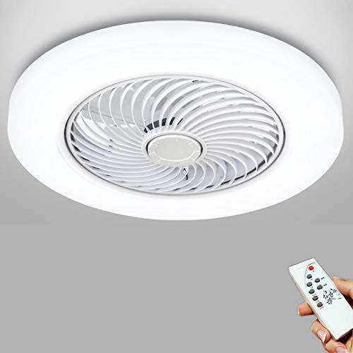 LED Ventilador De Techo Con Luz Y Mando A Distancia Moderna 72W Lámpara De Techo Creativo Ventilador Invisible Regulable Decoración De Interiores Sala De Estar Plafón De Techo Fan Lluminación