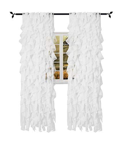 "Seibeh Tex Cascade Shabby Chic Sheer Voile Vertical Ruffled Waterfall Window Curtain Panel 2 Panels (White, 50""×84"")"