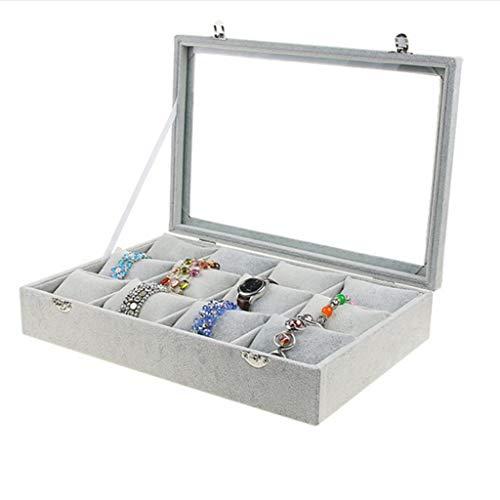 B Blesiya Caja de Almacenamiento Joyería Vitrina de Joyas Accesorios de Laboratorios Producto Comercial - Gris