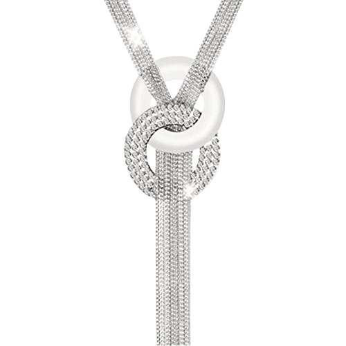 Contever® Lange Kette Y-Form Halskette Quaste Chunky Kollier Statement (Silber)