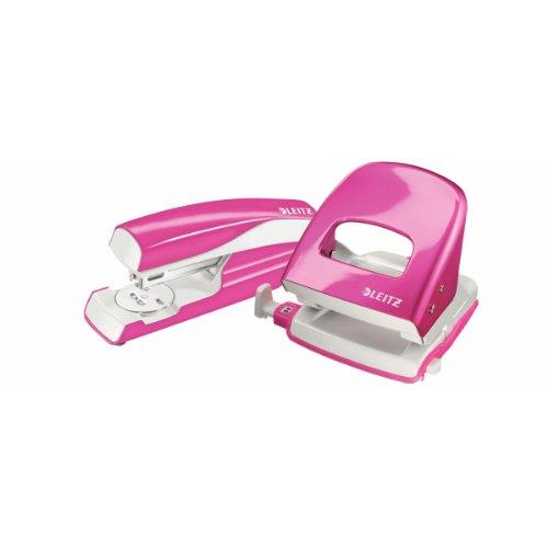 Esselte Leitz Locher NeXXt 5008 und Heftgerät NeXXt 5502 im Set, pink metallic