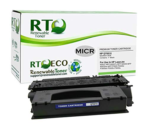 Renewable Toner Modified MICR Toner Cartridge High Yield Replacement 51X Q7551X for Check Printing on Laserjet M3027 M3035 P3005