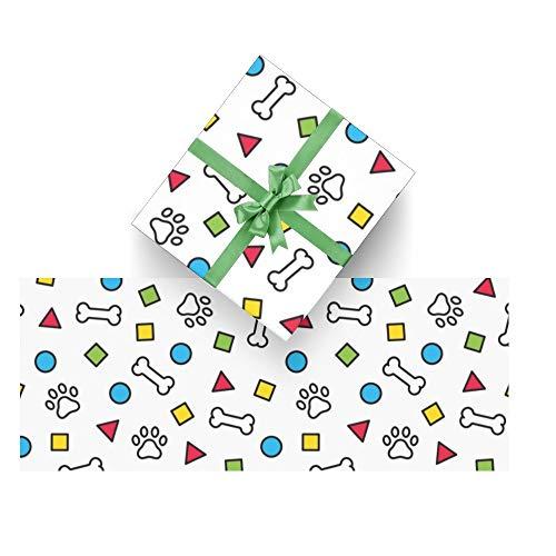 Dog Paw French Bulldog Wrapping Paper Bundle 3 Rolls High Gloss and Metallic Prints for Halloween, Christmas,Thanksgiving Da