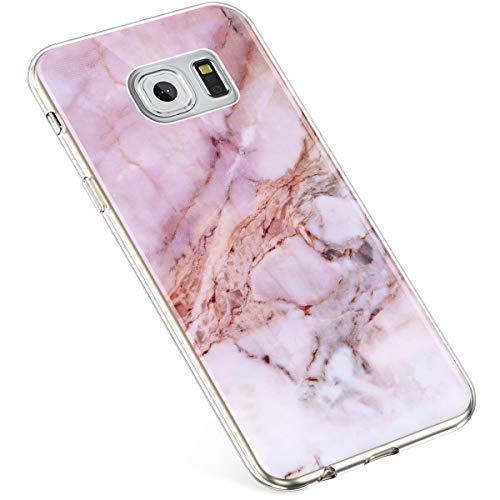 Uposao Kompatibel mit Samsung Galaxy S6 Hülle Silikon Transparent Silikon Schutzhülle Durchsichtig Kratzfest TPU Bumper Crystal Clear Case Cover Handytasche Handyhülle,Marmor Rosa