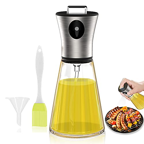 Bigqin Rociador de aceite, botella de spray de vinagre de 200 ml, dispensador de vidrio con embudo de cepillo para hornear gratis para asar ensaladas, cocinar