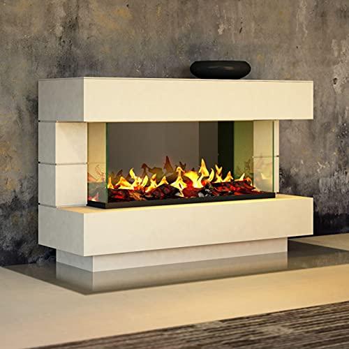 muenkel design London 1400 Opti-glo - Chimenea eléctrica Opti-myst, color a elegir, sin calefacción, bandeja de grava con piedras negras, conducto de agua