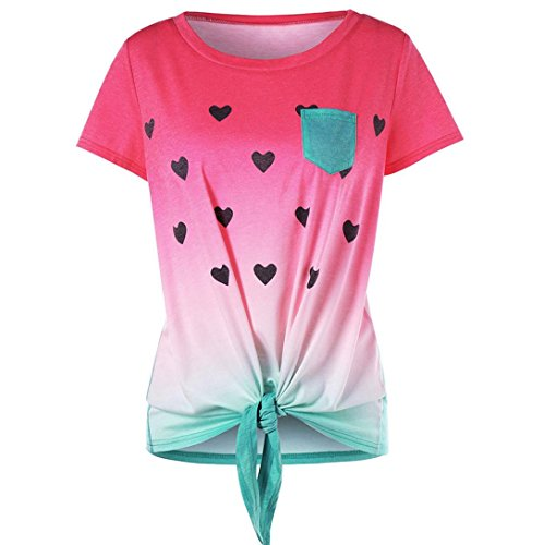 Damen Tops Rosennie Sommer Mode Frauen Lässig Elegant O-Ausschnitt Classic Gemütlich Vorderseite Knoten Tasche Wassermelone Gedruckt Kurzarm Top Bluse Streetwear (Rot, S)