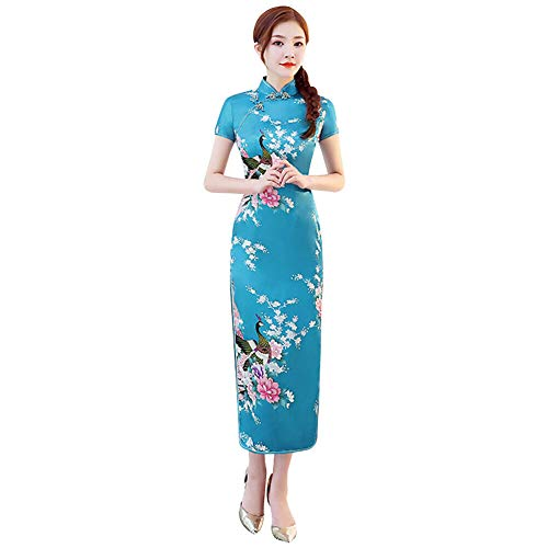 Xinvivion Vestido Chino de Cheongsam para Mujeres - Vestido Chino de la Mujer de Manga Corta Collar de Alta Hendidura Impresión Qipao Fiesta de Bodas Noche de Vestir