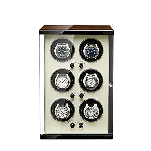 SGSG Enrollador de Reloj para Reloj automático 1/2/4/6, Caja de enrollador de Reloj con Funda de Almacenamiento de Relojes de Almohada de Cuero, Motor Extremadamente silencioso y Modos de rotació