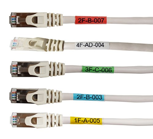 Mr-Label Vinyl Self-Laminating Printable Cable Labels - Weatherproof Cable Identification Tags for Wire Identification   Cable Classification - A4 Sheet (25 Sheets (675 Labels), 5 Assorted colors)