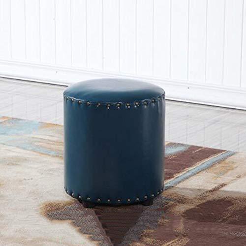 YLCJ American Retro Change schoenen salontafel rond klein blok leer waterdicht gemakkelijk te reinigen (kleur: zwart, maat: 35 x 35 x 40) 35 * 35 * 40 Blauw