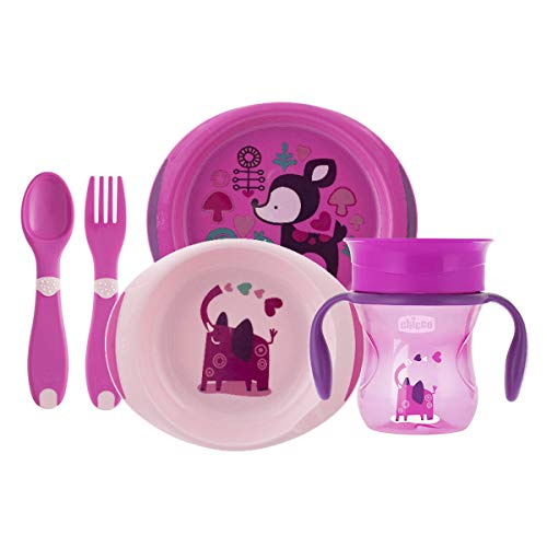 Chicco - Set completo comida, incluye platos + cubiertos + vaso, 12 m+, rosa