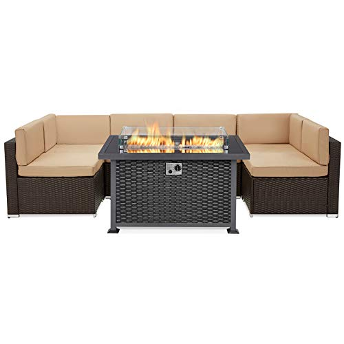 U-MAX 7 Pieces Patio Furniture Sectional Sofa with Gas Fire Pit Table, Brown Wicker Outdoor Sofa Set, Black 50,000 BTU Auto-Ignition Gas Firepit with Glass Wind Guard, CSA Certification