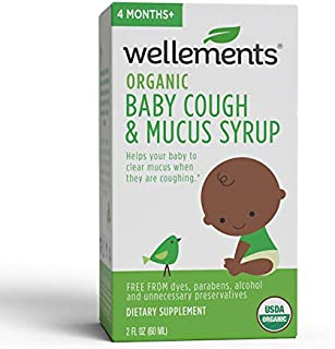 Wellements Organic Baby Cough & Mucus Syrup, 2 Fl Oz, Wild Cherry Bark, Slippery Elm, Agave, Free from Dyes, Parabens, Preservatives