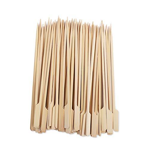 Mengxin 200 Piezas Brochetas de Madera Artículos Desechables Palillos para Pinchos para BBQ Cóctel Buffets Verduras Fruta Carne Hamburguesa 18CM