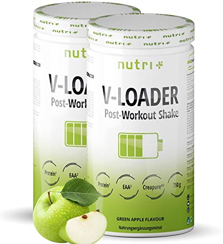 POST-WORKOUT-Shake V-LOADER - Muskelaufbau und Bodybuilding - 1500g Grüner Apfel Pulver - Maltodextrin - Protein-Pulver - EAA - Creapure - Vegan Supplement - Green Apple