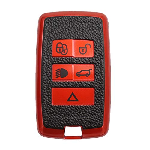 WFMJ Premium Soft TPU Remote Key Case Holder Cover Fob Skin Covers for 2018 2019 2020 Land Rover Range Rover Sport Vogue Evoque Discovery 5 (Red)