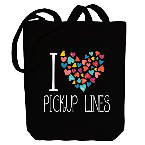 Idakoos I Love Pickup Lines Colorful Hearts Bolsa de Lona 10.5