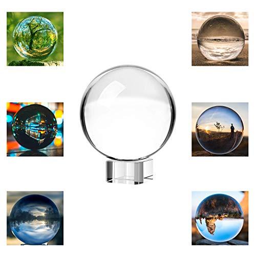 Neewer 80mm 3 Zoll Klare Kristallkugel Globus mit kostenlosem Kristall Ständer für Feng Shui Wahrsagung oder Hochzeit Hause Büro Dekoration