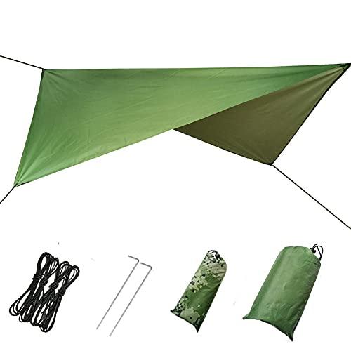 Tienda de campaña lonas al aire libre impermeable para senderismo Sun Shade cubierta de lluvia Canopy hamaca lluvia mosca (verde ejército 230* 210cm)