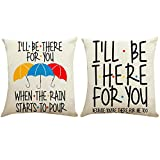 ZUEXT Love Friendship Umbrella Throw Pillow Covers 18x18 Inch, Set of 2 Cotton Linen Long Distance Relationship Cushion Pillowcases for Friends Valentines Kids Birthday Gift(I'll Be There for You)