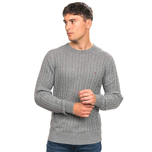 Tommy Hilfiger Classic Cable Crew Neck sudadera , Gris (Silver Fog Heather P9w) , XX-Large para Hombre