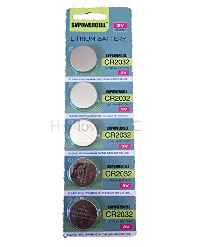 Hillflower 5 pcs CR2032 Card Blister 2032 BR2032 Long Duration Heavy Duty 3V Lithium Battery with Hillflower Coupon