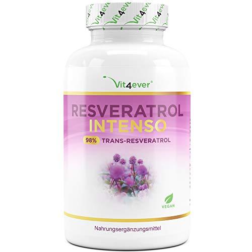 Resveratrol mit 500 mg pro Kapsel - Premium: 98% Trans-Resveratrol aus japanischem Staudenknöterich Wurzel-Extrakt - 60 Kapseln - Laborgeprüft - Hochdosiert - Vegan