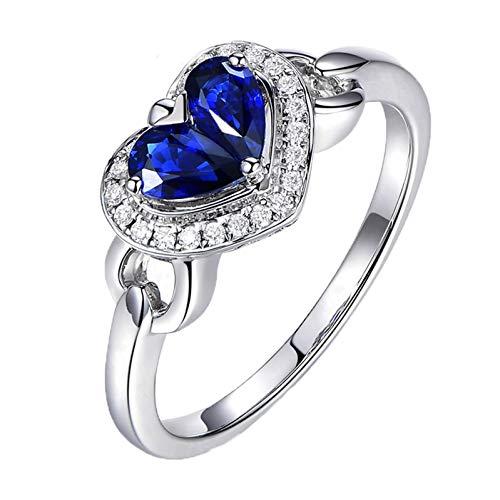 Ubestlove Solitaire Ring White Gold Gifts For Teenage Girls Perfume Heart Sapphire 0.6Ct Diamond 0.1Ct Ring 0.6Ct M 1/2