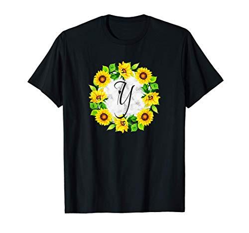 Letra de girasol Y Diseño inicial de estilo de flor, un rega Camiseta