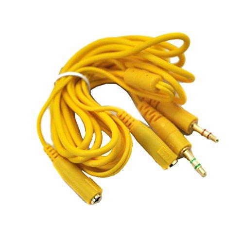 2 stekker-2 jacks microfoon audio verlengkabel 3,5 mm kabel voor computerspel hoofdtelefoon headset 150 cm, geel