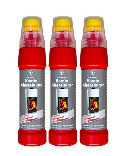 Kaminscheibenreiniger SENDEO Aktivgel für Ofen- und Kaminglas | Power Aktiv-Gel gegen hartnäckigste Verschmutzungen wie Ruß und Eingebranntes | Hochergiebig mit integrierter Bürste (3x 200ml)