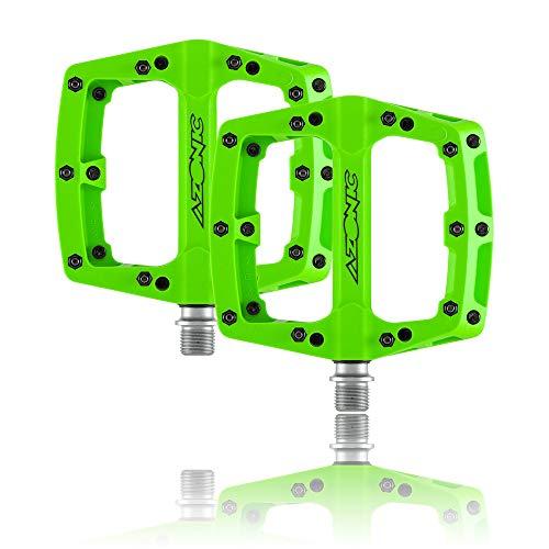 AZONIC | Fahrrad-Pedale | MTB Downhill Mountainbike BMX | Extrem haltbares faserverstärktes Nylon-Pedal, Hochwertige Lager- und Achsentechnologie, Langlebige DU-Buchse | Blaze Pedal | Grün