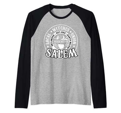 Salem Local Brujas Unión Cielo Sobre la Tierra Est 1692 Halloween Camiseta Manga Raglan