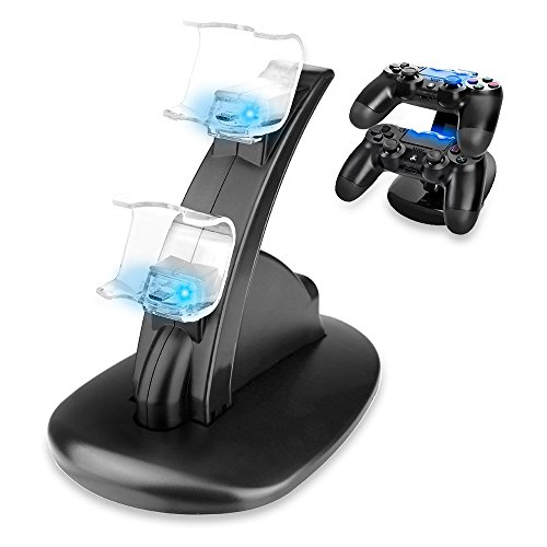 Redlemon Cargador para Controles de PlayStation 4 (PS4) con Base y Soporte. Estación de Carga con LEDs…