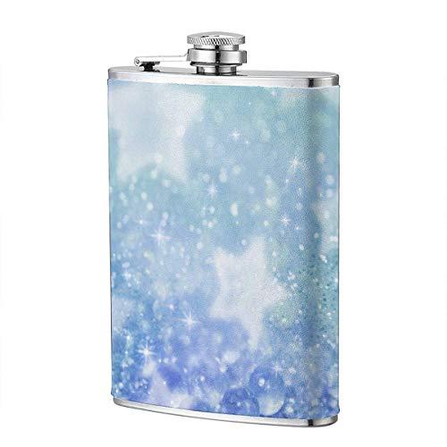 XBYC Blue Bling Stars Frasco para licor y embudo Frasco de acero inoxidable para beber alcohol,...