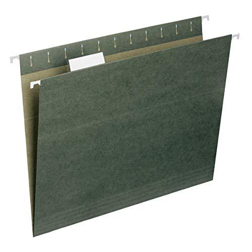 Smead Pasta de arquivos suspensa com aba, aba ajustável de corte 1/5, tamanho carta, verde padrão, 50 por caixa (64029)