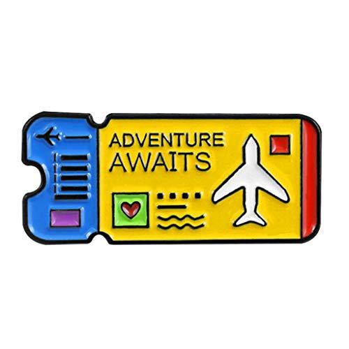 N/A. Broches con forma de boletos de avión de dibujos animados para mujer, mini alfileres de insignia esmaltada de solapa Pin de fiesta chaquetas de suéter accesorio de decoración